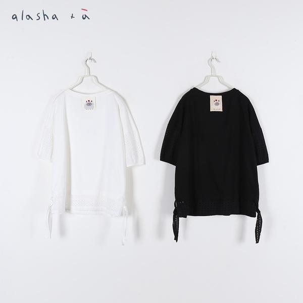 a la sha+a 澎澎袖拼接蕾絲上衣