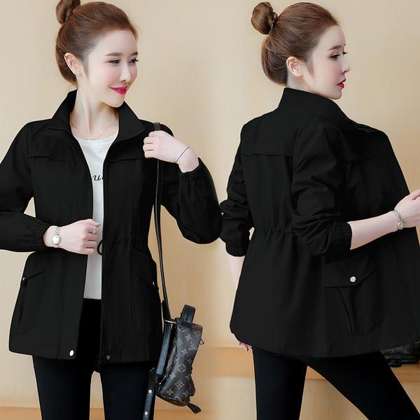 顯瘦收腰夾克外套 潮流時尚女士外套 休閒女生外套 百搭風衣上衣外套 寬鬆女外套韓版外套