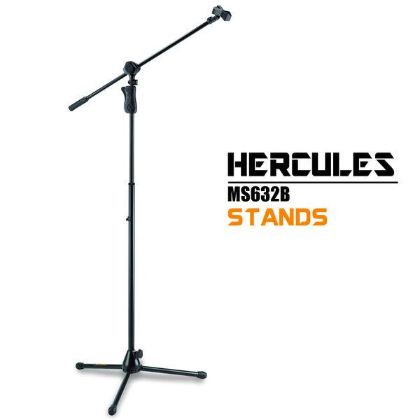 小叮噹的店- 精品級 麥克風架.HERCULES(海克力斯) MS632B 三叉腳麥克風直架附斜架大旋鈕