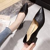 法式尖頭淺口單鞋女2020春秋新款平底女鞋百搭職業工作皮鞋子『向日葵生活館』