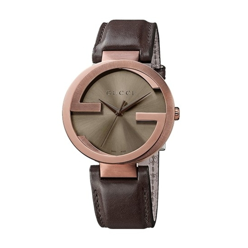 GUCCI Interlocking-G 雙G低調時尚皮帶腕錶(咖啡色/32mm/133207)