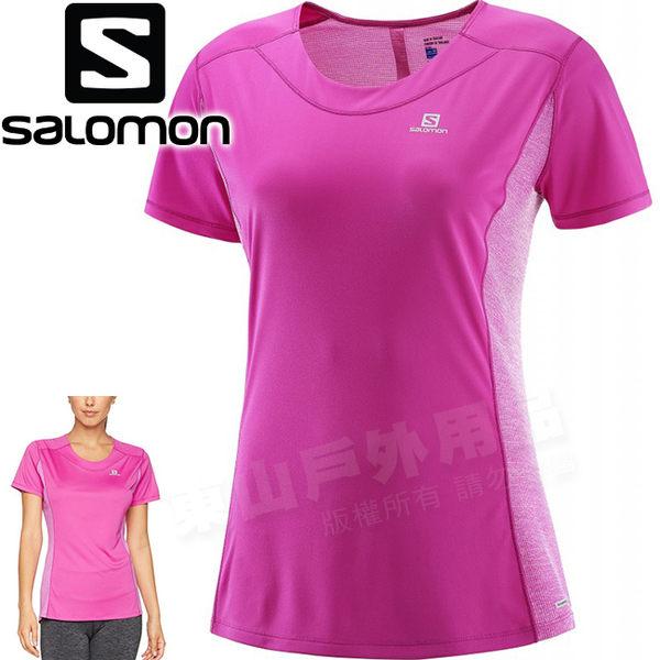 Salomon 392530玫瑰紫/粉 女Agile短袖排汗透氣T恤 登山機能上衣/運動排汗衫/健行慢跑休閒服