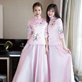 伴娘服長款2018新款韓版春季灰色旗袍裙中式 LQ4233『小美日記』