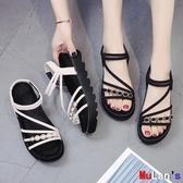 伊人 楔形涼鞋 涼鞋 厚底 增高 鬆糕 坡跟 綁帶 平底鞋