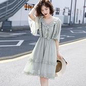 薄荷綠色波點連衣裙女2021新款夏季流行裙子小個子大碼印花雪紡裙 快速出貨