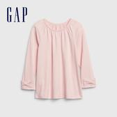 Gap女幼童 簡約風格純色插肩袖長袖T恤 614900-冰粉色