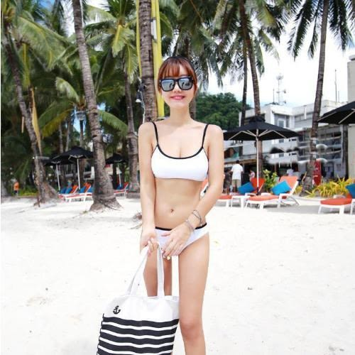比基尼bikini泳衣 黑白運動風低腰褲  泳衣泳裝比基尼 【261j】