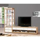【森可家居】米堤原木色8尺L櫃(全組) 7ZX369-2 高低櫃 客廳 展示櫃 電視櫃 木紋質感 無印風