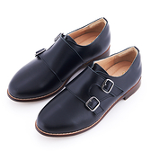 G.Ms. MIT系列-雙釦一片式牛皮低跟孟克休閒鞋-黑色