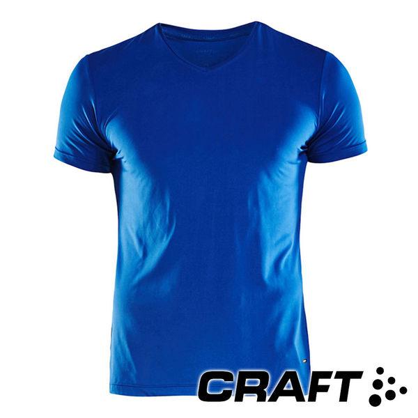 【CRAFT】男 短袖V領排汗衣 EssentialVNSSM『藍』1906053 慢跑 運動 排汗 快乾 透氣 運動 單車