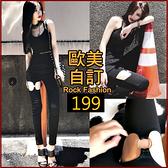 克妹Ke-Mei【AT58757】獨家自訂,歐美單!龐克金屬圓杯彈力小腿緊身褲