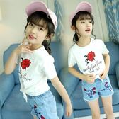 女童印花短袖T恤夏季兒童白色下擺開叉上衣女孩小學生6歲12 嚴選柜惠八八折
