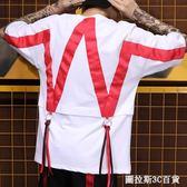 51嘻哈滑板街頭朋克風潮男女搖滾夜店機車半袖衫幾何織帶短袖T恤  圖拉斯3C百貨