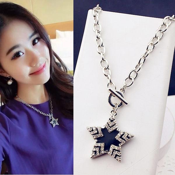 新款時尚韓國鎖骨鍊黑色滿鑽五角星項鍊韓國鎖骨鍊配飾女鎖骨短鍊