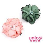 UNICO 兒童 俏麗燒花邊造型粉+綠髮夾-2入組