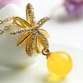 項鍊 925純銀 琥珀墜飾-奢華迷人生日情人節禮物女飾品73fz40【時尚巴黎】