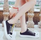 現貨-半拖鞋涼拖女夏時尚外穿厚底懶人無后跟帆布鞋包頭半拖鞋新款小白鞋8-19