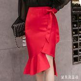 中大尺碼魚尾裙 秋冬韓版時尚洋氣不規則魚尾包臀裙修身顯瘦半身裙 AW12876『寶貝兒童裝』