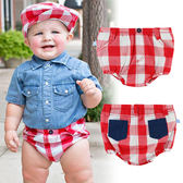 男童短褲/ 英倫風 / 紅色格紋小短褲 美國RuggedButts