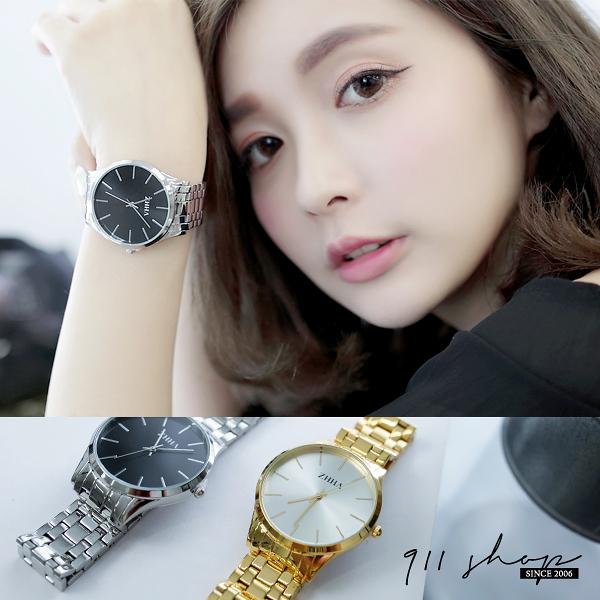 Leisure.港牌ZHHA。光澤線條刻度金屬鋼帶手錶腕錶【ta529】*911 SHOP*