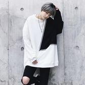 長袖T恤-圓領冬季新款時尚拼色男上衣73pr54[巴黎精品]