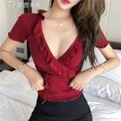 低胸上衣韓版夜店短袖t恤女新款修身顯身材深v領綁帶性感低胸木耳邊打底衫 快速出貨