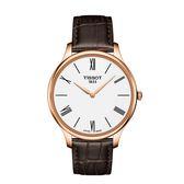 ◆TISSOT◆TRADITION 5.5 簡約大三針石英皮帶腕錶T063.409.36.018.00 玫瑰金X咖啡