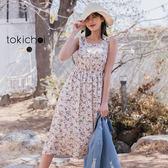 東京著衣-tokichoi-清新女孩滿版碎花無袖微透膚縮腰洋裝-S.M.L(190242)