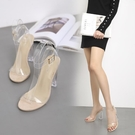 促銷全場九折 歐美夏7新款高跟鞋11cm一字帶露趾走秀水晶鞋透明粗跟涼鞋女