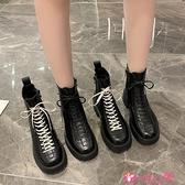 馬丁靴 馬丁靴女2021秋冬新款加絨時尚百搭機車靴網紅潮低跟厚底短靴 小天使 99免運