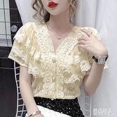 2020年夏季新款韓版蕾絲衫寬鬆設計感短袖洋氣小衫白色襯衫上衣女 LR25777『紅袖伊人』
