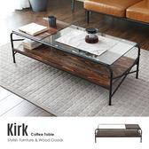 Kirk科克工業風實木鐵架玻璃茶几/桌面木+玻璃款/H&D東稻家居