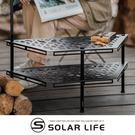 ANGLE MEZA 多功能露營桌 梯型組合桌(黑).六角鐵桌 烤肉圍爐桌 梯形露營層架 雙層置物架 風格露營