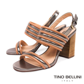 Tino Bellini 巴西進口跳色條帶高跟涼鞋 _ 杏 B83221 歐洲進口款
