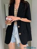亞麻西裝外套 韓版大碼薄款短袖亞麻薄外套女黑色夏棉麻寬松小西裝西服單件上衣 快速出貨