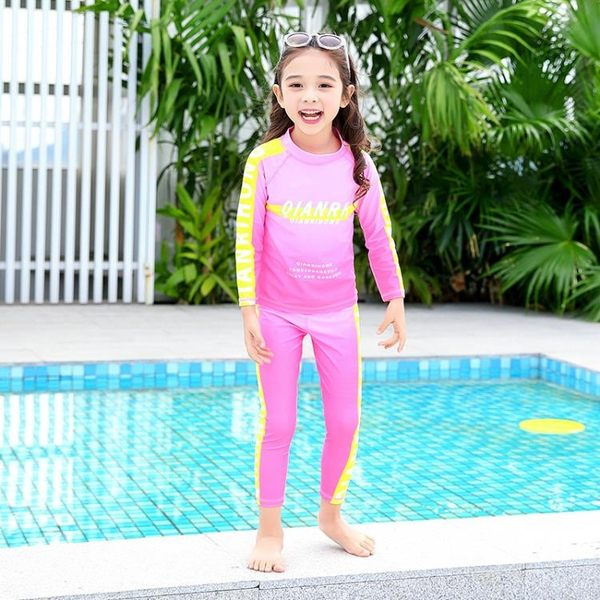 兒童泳衣男女童分體運動款女孩長袖韓國可愛寶寶泡溫泉學生游泳衣