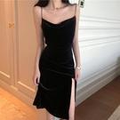 黑色吊帶裙洋裝春款2021新款女氣質修身顯瘦性感辣妹裙純欲長裙
