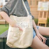 簡約百搭帆布包女單肩韓國女士托特包ins文藝大容量小清新女布包 俏腳丫