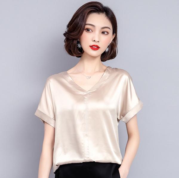 清倉188 韓系時尚百搭寬松顯瘦V領襯衫單品短袖上衣