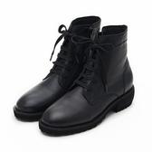MICHELLE PARK 學院馬汀 個性簡約綁帶低跟五分靴-黑
