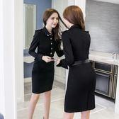2018秋裝新款時尚修身長袖氣質立領中長款收腰職業裝包臀連衣裙女