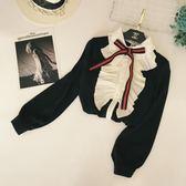 全館免運八折促銷-英倫風雪紡百褶荷葉邊木耳邊蝴蝶結燈籠袖時尚寬鬆打底襯衫上衣女