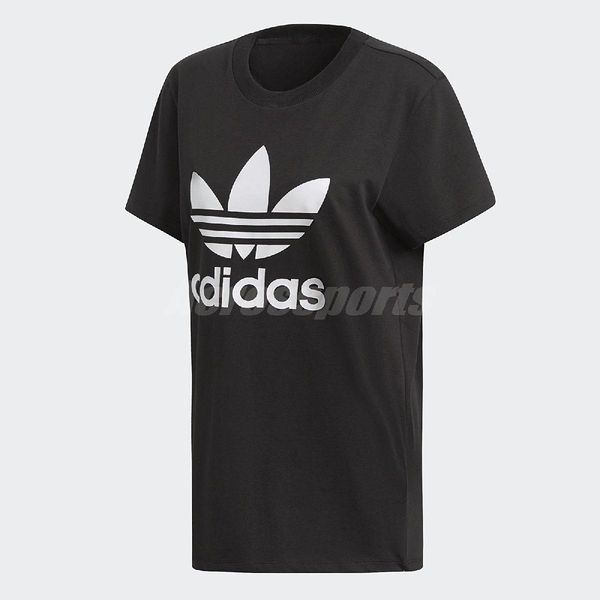 adidas 短袖T恤 Boyfriend Trefoil Tee 黑 白 女款 三葉草 純棉 加大版型 【ACS】 DX2323