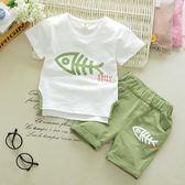 【全館】現折200男童短袖套裝兒童夏季兩件套1-2-3歲童裝嬰兒純棉T恤夏裝寶寶短褲