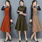 中大尺碼長袖兩件式洋裝 背帶裙兩件套女冬...
