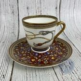 BRAND楓月 HERMES 愛馬仕 圖案 圖騰 飾邊 小花  馬具 圓形 茶杯 茶盤 咖啡杯 茶具組 擺飾 擺件 1
