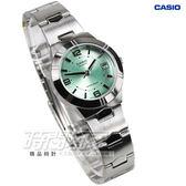 CASIO卡西歐LTP-1241D-3A簡約休閒小圓錶 日期顯示 不銹鋼帶綠色 LTP-1241D-3ADF 防水手錶鋼錶帶款