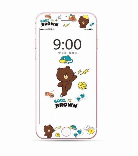 【SZ93】iPhone 6s鋼化膜 卡通棕色熊維尼軟邊鋼化膜 iPhone 7/8 plus 鋼化玻璃膜 螢幕貼 保護貼