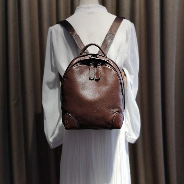 後背包-真皮-簡約復古牛皮純色女雙肩包4款73yi6【巴黎精品】