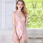 大碼 蕾絲性感睡裙女夏季冰絲薄款修身露背低胸吊帶睡衣短裙 js25907『黑色妹妹』